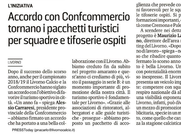 Accordo con Confcommercio tornano i pacchetti turistici per squadre e tifoserie ospiti – Il Tirreno, 27 luglio 2018