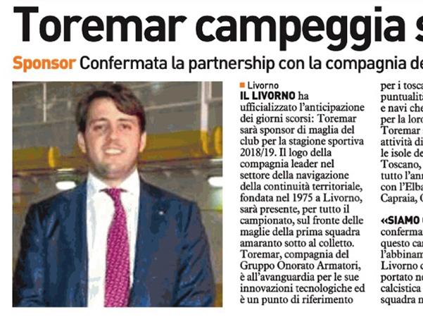 Toremar campeggia sul petto – Il Telegrafo, 26 agosto 2018