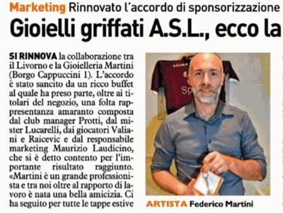 Gioielli griffati A.S.L., ecco la nuova collezione di Martini – Il Telegrafo, 7 settembre 2018