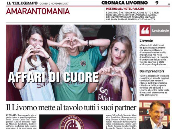 Il Livorno mette al tavolo tutti i suoi partner – Il Telegrafo, Cronaca Livorno, 2 novembre 2017