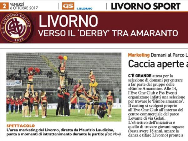 """Caccia aperta alle """"Bimbe Amaranto"""" – Il Telegrafo, Livorno Sport, 6 ottobre 2017"""