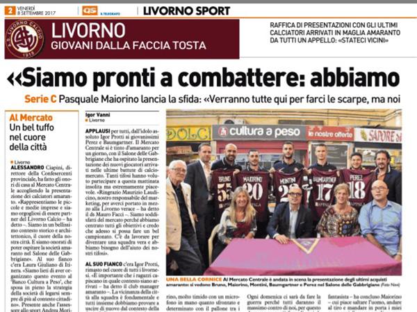 Siamo pronti a combattere – Il Telegrafo, Livorno Sport, 8 settembre 2017