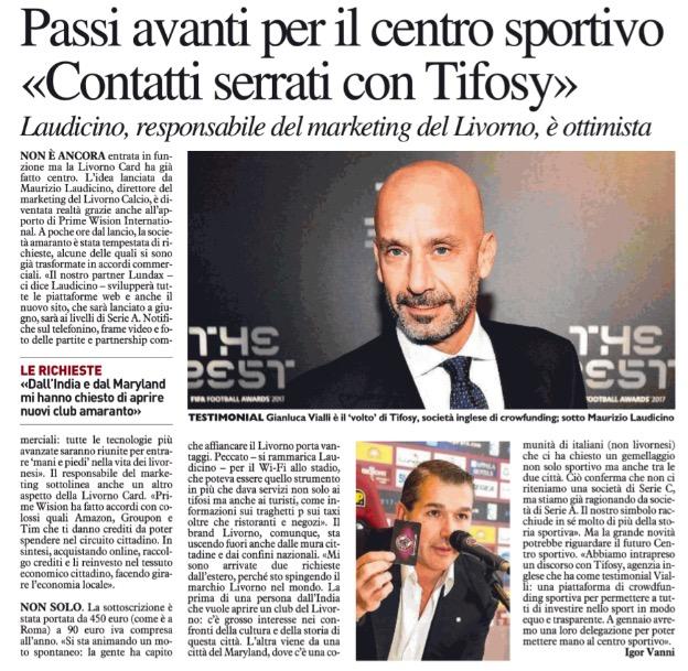 """""""Contatti serrati con Tifosy"""" – Telegrafo, 14 Dicembre 2017"""