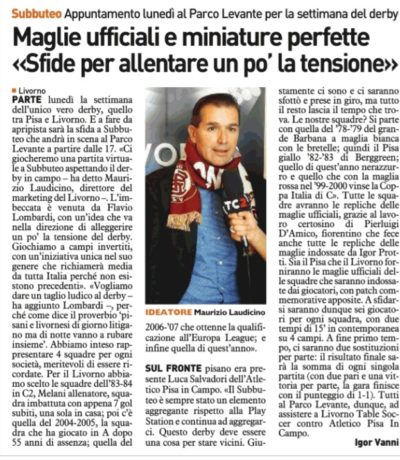 Settimana del derby – Telegrafo, 16 Novembre 2017
