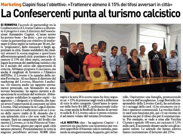 La Confesercenti punta al turismo calcistico – Il Telegrafo, 1 agosto 2018