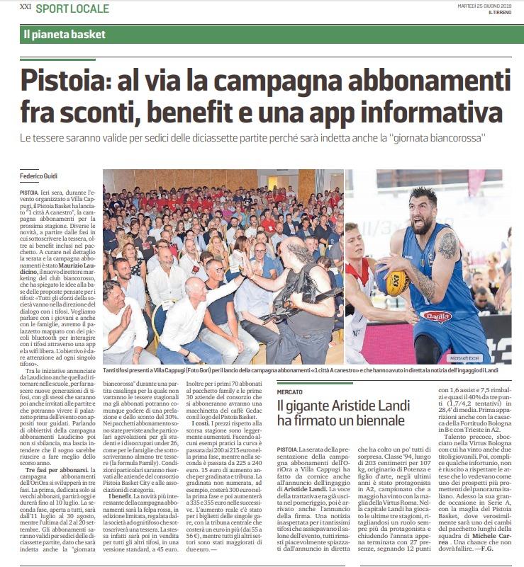 Nuova campagna di abbonamenti Pistoia Basket – Il Tirreno, 25 giugno 2019
