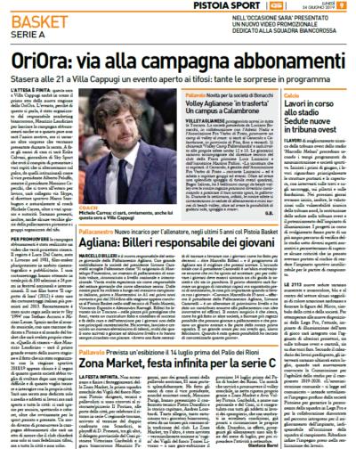 Campagna abbonamenti Pistoia – Pistoia Sport Quotidiano Sportivo, 24 giugno 2019