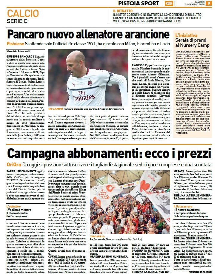 Campagna abbonamenti al via – Pistoia Sport Quotidiano Sportivo, 25 giugno 2019
