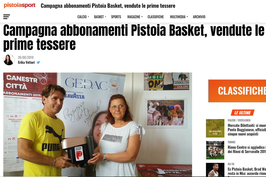 Campagna abbonamenti Pistoia Basket, vendute le prime tessere – Pistoia Sport, 26 giugno 2019