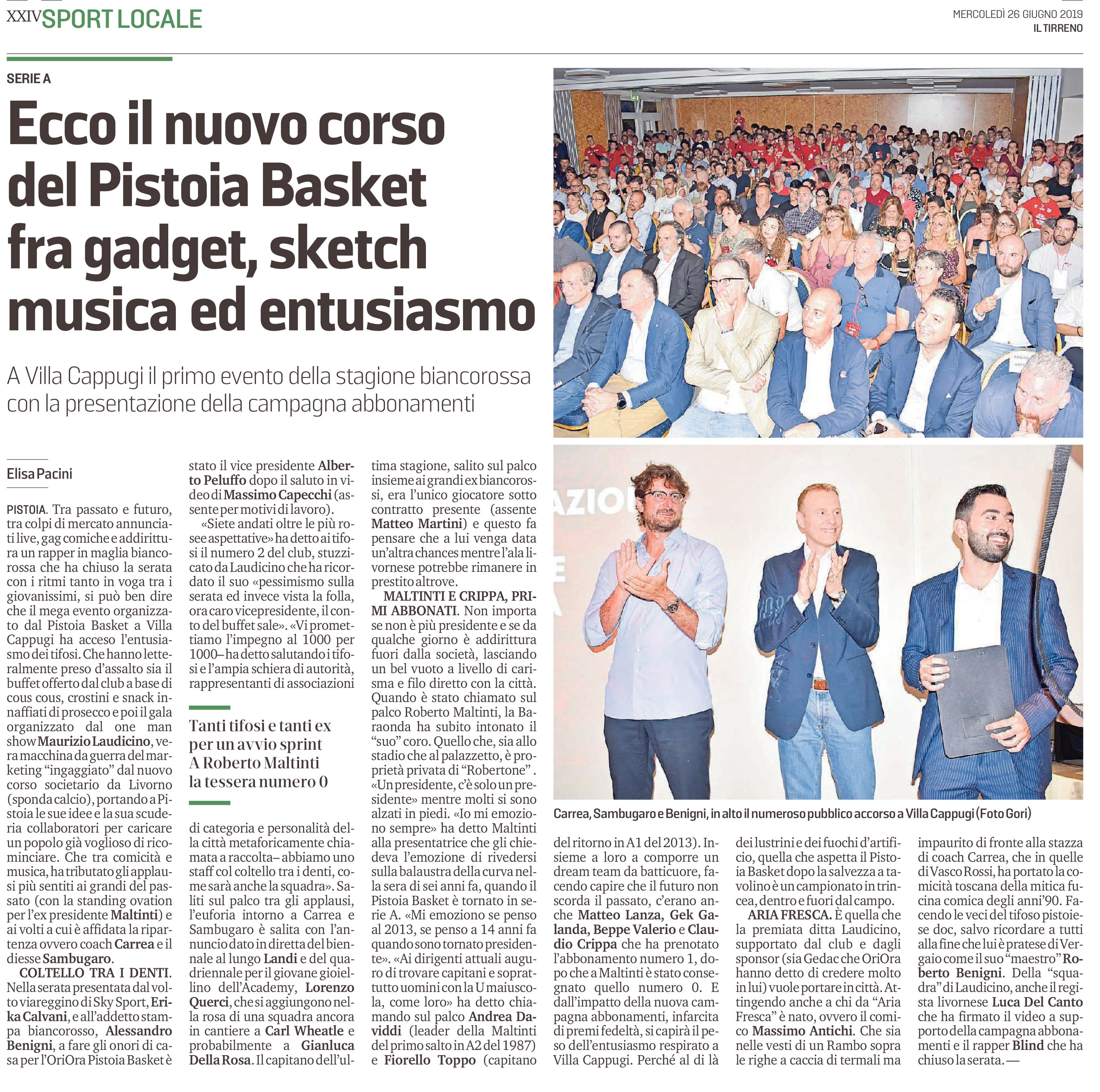 Ecco il nuovo corso del Pistoia Basket – Il Tirreno, 26 giugno 2019