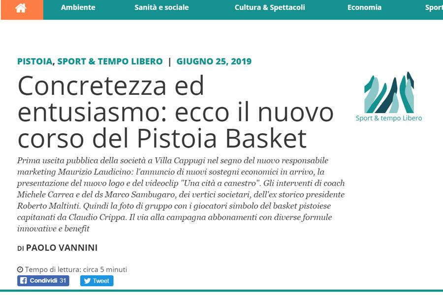Concretezza ed entusiasmo: ecco il nuovo corso del Pistoia Basket – La Voce della Montagna, 25 giugno 2019